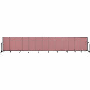 "Screenflex 13 Panel Portable Room Divider, 4'H x 24'1""L, Fabric Color: Rose"