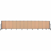"Screenflex 13 Panel Portable Room Divider, 4'H x 24'1""L, Fabric Color: Desert"
