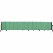 "Screenflex 13 Panel Portable Room Divider, 4'H x 24'1""L, Fabric Color: Sea Green"