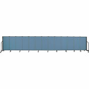 "Screenflex 13 Panel Portable Room Divider, 4'H x 24'1""L, Fabric Color: Blue"