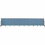 "Screenflex 13 Panel Portable Room Divider, 4'H x 24'1""L, Fabric Color: Blue"