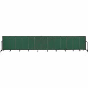 "Screenflex 13 Panel Portable Room Divider, 4'H x 24'1""L, Fabric Color: Green"