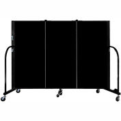 "Screenflex 3 Panel Portable Room Divider, 4'H x 5'9""L, Fabric Color: Charcoal Black"