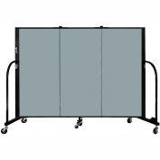 "Screenflex 3 Panel Portable Room Divider, 4'H x 5'9""L, Fabric Color: Grey Stone"