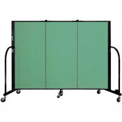 "Screenflex 3 Panel Portable Room Divider, 4'H x 5'9""L, Fabric Color: Sea Green"
