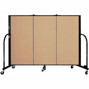 "Screenflex 3 Panel Portable Room Divider, 4'H x 5'9""L, Fabric Color: Sand"
