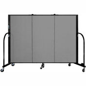 "Screenflex 3 Panel Portable Room Divider, 4'H x 5'9""L, Fabric Color: Grey"