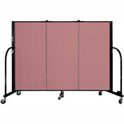 "Screenflex 3 Panel Portable Room Divider, 4'H x 5'9""L, Fabric Color: Mauve"