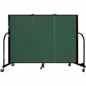 "Screenflex 3 Panel Portable Room Divider, 4'H x 5'9""L, Fabric Color: Green"