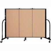 "Screenflex 3 Panel Portable Room Divider, 4'H x 5'9""L, Fabric Color: Wheat"