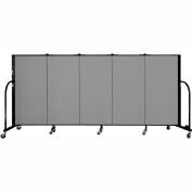 "Screenflex 5 Panel Portable Room Divider, 4'H x 9'5""L, Fabric Color: Stone"