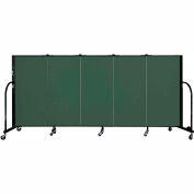 "Screenflex 5 Panel Portable Room Divider, 4'H x 9'5""L, Fabric Color: Mallard"