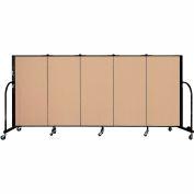 "Screenflex 5 Panel Portable Room Divider, 4'H x 9'5""L, Fabric Color: Desert"