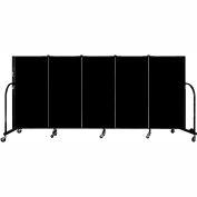 "Screenflex 5 Panel Portable Room Divider, 4'H x 9'5""L, Fabric Color: Charcoal Black"