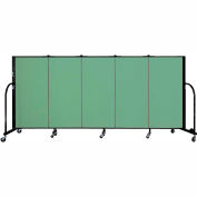 "Screenflex 5 Panel Portable Room Divider, 4'H x 9'5""L, Fabric Color: Sea Green"