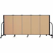 "Screenflex 5 Panel Portable Room Divider, 4'H x 9'5""L, Fabric Color: Sand"