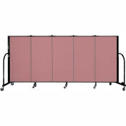 "Screenflex 5 Panel Portable Room Divider, 4'H x 9'5""L, Fabric Color: Mauve"
