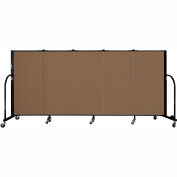 "Screenflex 5 Panel Portable Room Divider, 4'H x 9'5""L, Fabric Color: Oatmeal"