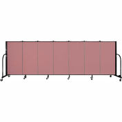 "Screenflex 7 Panel Portable Room Divider, 4'H x 13'1""L Fabric Color: Rose"