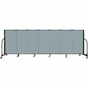 "Screenflex 7 Panel Portable Room Divider, 4'H x 13'1""L Fabric Color: Grey Stone"