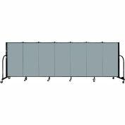 "Screenflex 7 Panel Portable Room Divider, 4'H x 13'1""L Fabric Color: Grey Stone"