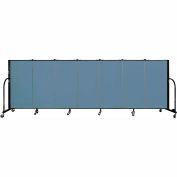 "Screenflex 7 Panel Portable Room Divider, 4'H x 13'1""L Fabric Color: Blue"