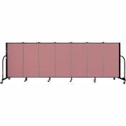 """Screenflex 7 Panel Portable Room Divider, 4'H x 13'1""""L Fabric Color: Mauve"""