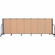 "Screenflex 7 Panel Portable Room Divider, 4'H x 13'1""L Fabric Color: Wheat"