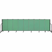 "Screenflex 9 Panel Portable Room Divider, 4'H x 16'9""L, Fabric Color: Sea Green"