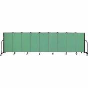 "Screenflex 9 Panel Portable Room Divider, 4'H x 16'9""L, Fabric Color: Sea Green"
