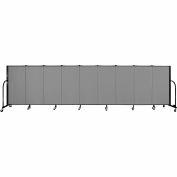"Screenflex 9 Panel Portable Room Divider, 4'H x 16'9""L, Fabric Color: Grey"