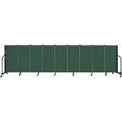 "Screenflex 9 Panel Portable Room Divider, 4'H x 16'9""L, Fabric Color: Green"