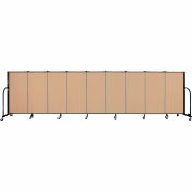 "Screenflex 9 Panel Portable Room Divider, 4'H x 16'9""L, Fabric Color: Wheat"