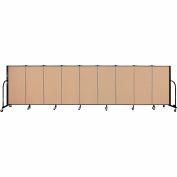"Screenflex 9 Panel Portable Room Divider, 4'H x 16'9""L, Fabric Color: Wheat"