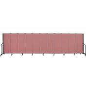 "Screenflex 11 Panel Portable Room Divider, 5'H x 20'5""L, Fabric Color: Rose"