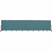 "Screenflex 13 Panel Portable Room Divider, 5'H x 24'1""L, Fabric Color: Lake"