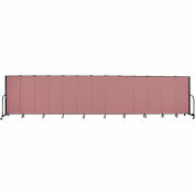"Screenflex 13 Panel Portable Room Divider, 5'H x 24'1""L, Fabric Color: Rose"