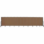 "Screenflex 13 Panel Portable Room Divider, 5'H x 24'1""L, Fabric Color: Walnut"