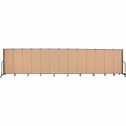 "Screenflex 13 Panel Portable Room Divider, 5'H x 24'1""L, Fabric Color: Desert"