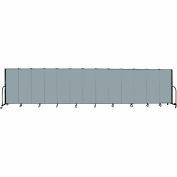 "Screenflex 13 Panel Portable Room Divider, 5'H x 24'1""L, Fabric Color: Grey Stone"