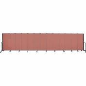 "Screenflex 13 Panel Portable Room Divider, 5'H x 24'1""L, Fabric Color: Cranberry"