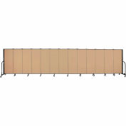 "Screenflex 13 Panel Portable Room Divider, 5'H x 24'1""L, Fabric Color: Sand"