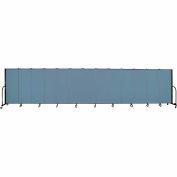 "Screenflex 13 Panel Portable Room Divider, 5'H x 24'1""L, Fabric Color: Blue"