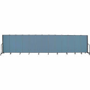 "Screenflex 13 Panel Portable Room Divider, 5'H x 24'1""L, Fabric Color: Blue"