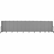 "Screenflex 13 Panel Portable Room Divider, 5'H x 24'1""L, Fabric Color: Grey"