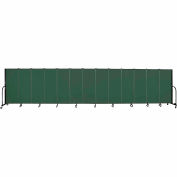 "Screenflex 13 Panel Portable Room Divider, 5'H x 24'1""L, Fabric Color: Green"