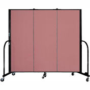 "Screenflex 3 Panel Portable Room Divider, 5'H x 5'9""L, Fabric Color: Rose"