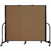 "Screenflex 3 Panel Portable Room Divider, 5'H x 5'9""L, Fabric Color: Walnut"