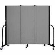 "Screenflex 3 Panel Portable Room Divider, 5'H x 5'9""L, Fabric Color: Grey"