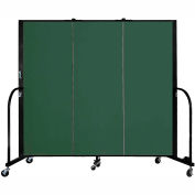 "Screenflex 3 Panel Portable Room Divider, 5'H x 5'9""L, Fabric Color: Green"